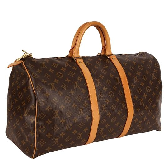 Louis Vuitton Keepall 50 Monogram Leather Canvas Duffle Brown Travel Bag Image 4