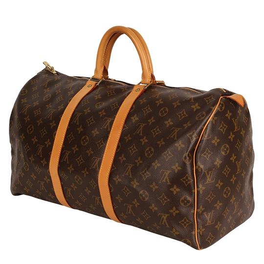 Louis Vuitton Keepall 50 Monogram Leather Canvas Duffle Brown Travel Bag Image 6