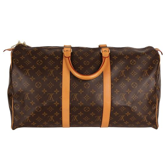 Louis Vuitton Keepall 50 Monogram Leather Canvas Duffle Brown Travel Bag Image 7