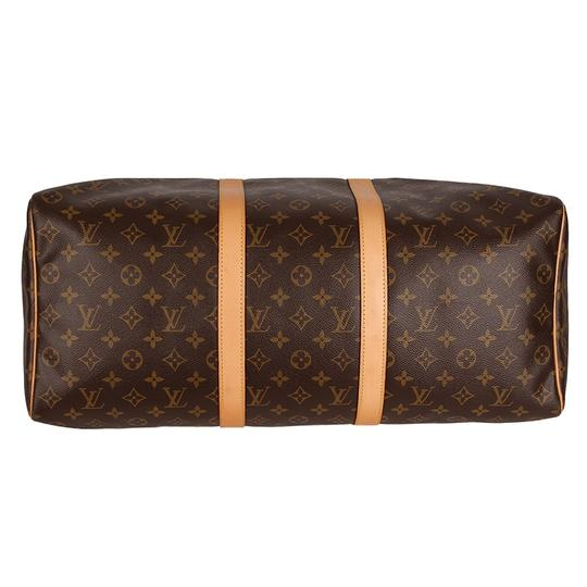 Louis Vuitton Keepall 50 Monogram Leather Canvas Duffle Brown Travel Bag Image 8