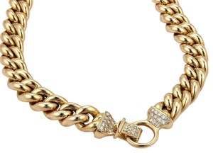 Other 1.40ct Diamond 14k Yellow Gold Puffed Curb Link Necklace