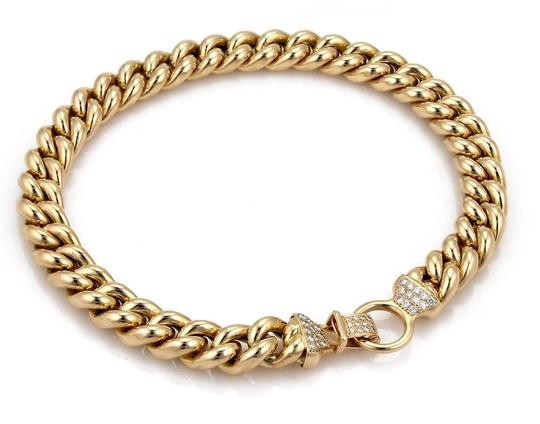 Other 1.40ct Diamond 14k Yellow Gold Puffed Curb Link Necklace Image 1