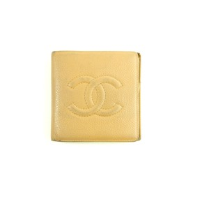 Chanel Caviar Skin Leather Bifold Mens Cocomark Wallet