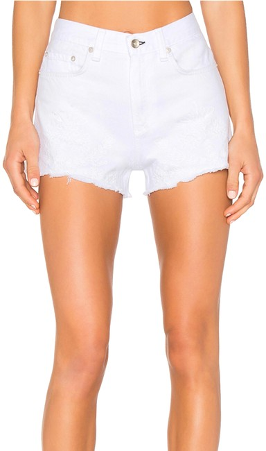 Item - White Justine High Rise High Waisted Embroidery Shorts Size 00 (XXS, 24)