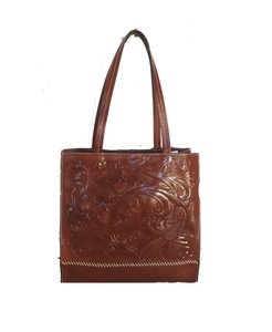 Patricia Nash Designs Leather Hand Tooled Back Pocket Tote in brown