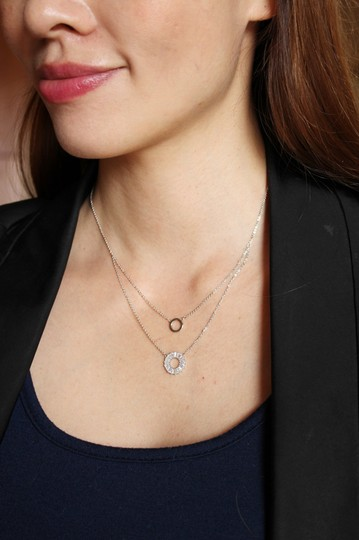 Ocean Fashion Rose gold Duplexes crystal circle necklace Image 1
