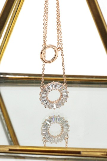 Ocean Fashion Rose gold Duplexes crystal circle necklace Image 3