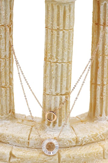 Ocean Fashion Rose gold Duplexes crystal circle necklace Image 4
