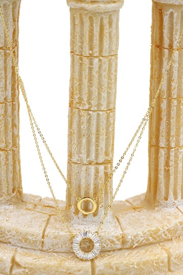 Ocean Fashion Gold Duplexes crystal circle necklace Image 4