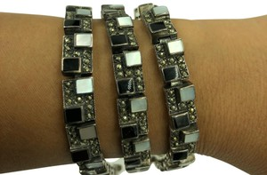 NF 925 STER Silver Onyx, Mother of Pearl & Marcasite Pattern Design Bracelet