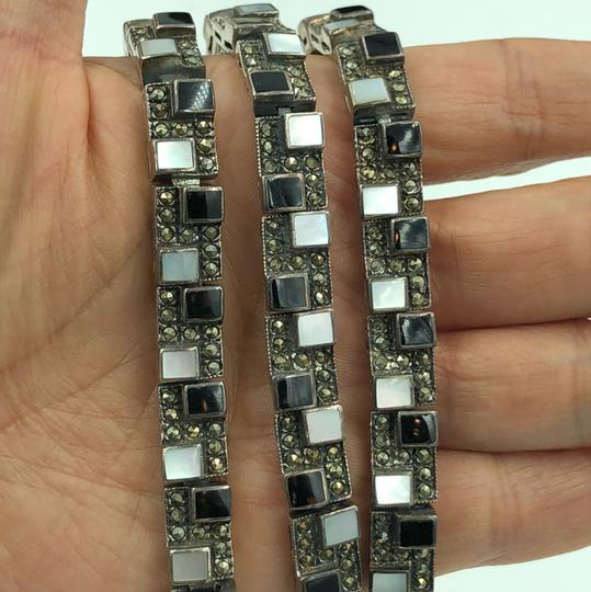 NF 925 STER Silver Onyx, Mother of Pearl & Marcasite Pattern Design Bracelet Image 1