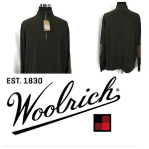 Woolrich Green Olive Men's Sweater 1/4 Zip Elbow Patch Shirt