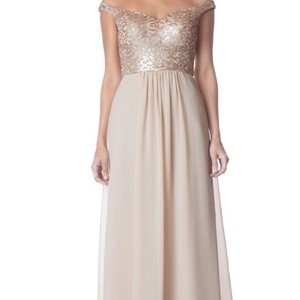 "Bari Jay Champagne ""rose Gold"" Sequin 1751 Feminine Bridesmaid/Mob Dress Size 8 (M)"