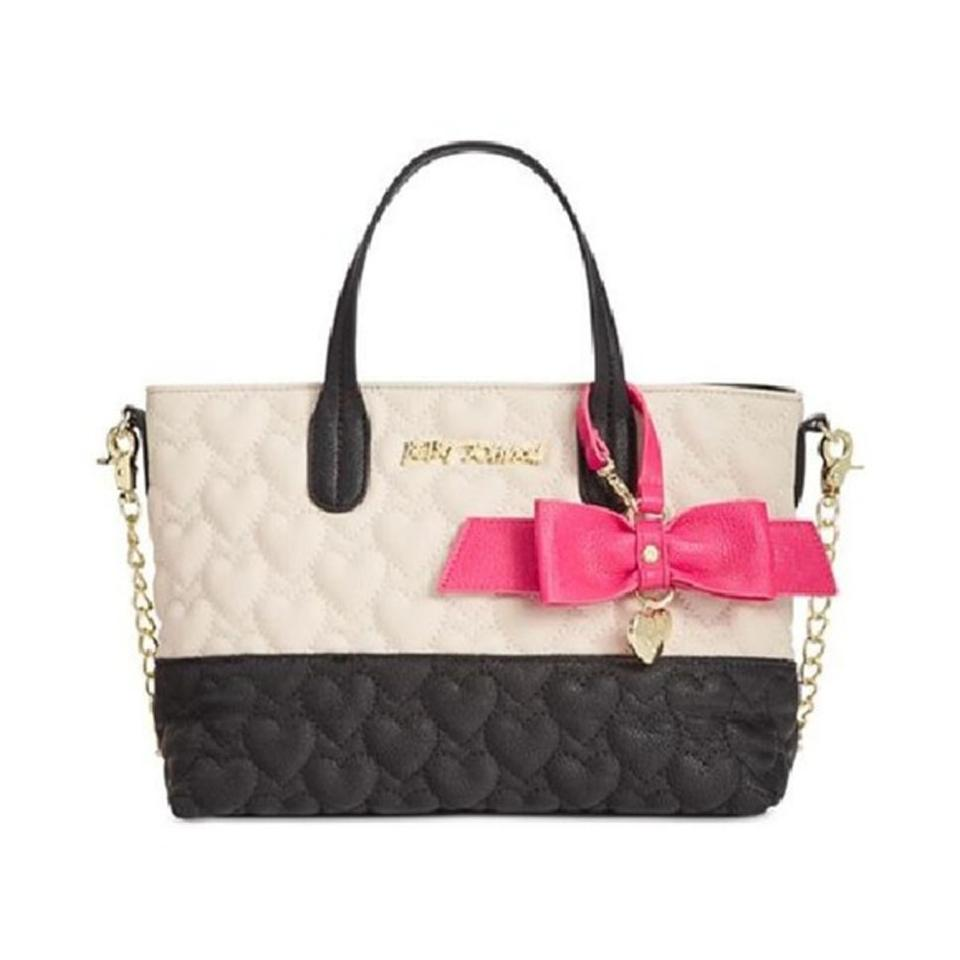 31434c58ff Betsey Johnson Quilted Heart Mini Crossbody Bone  Black Faux Leather ...