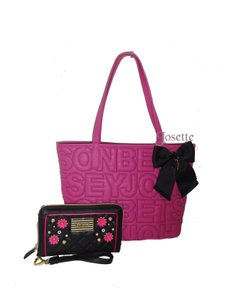 Betsey Johnson Quilted Logo Medium Bow Wallet Tote in PINK