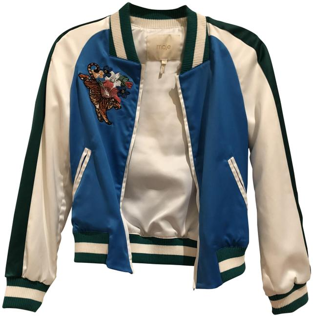 Item - Blue /Geeen/ White Multicolored Bomber Jacket Size 6 (S)