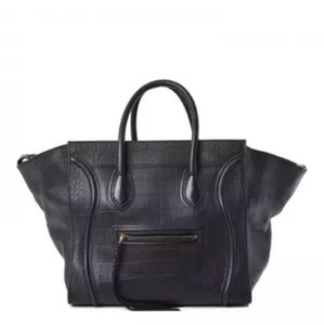 Céline Crocodile Phantom Oversized Phoebe Philo Tote in Black