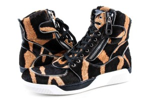 Dolce&Gabbana Black And Brown Pony Hair High Sneakers Shoes