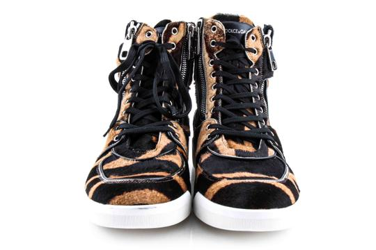 Dolce&Gabbana Black And Brown Pony Hair High Sneakers Shoes Image 1
