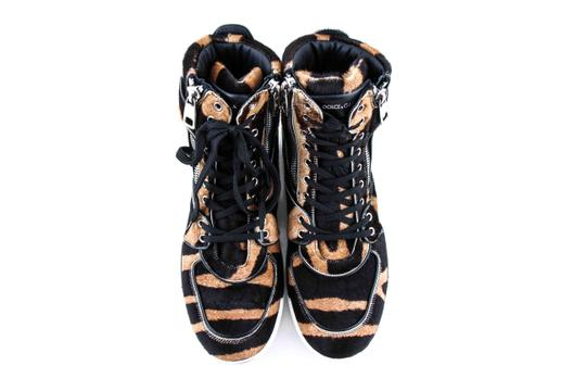 Dolce&Gabbana Black And Brown Pony Hair High Sneakers Shoes Image 2