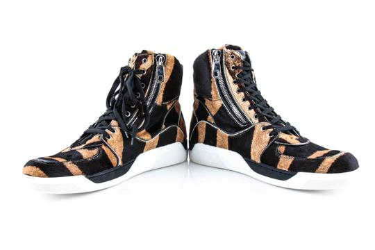 Dolce&Gabbana Black And Brown Pony Hair High Sneakers Shoes Image 9