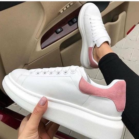 Alexander McQueen White Pattern with Sueded Pink Athletic Image 2