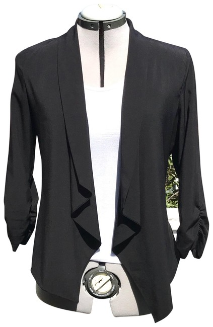 Preload https://img-static.tradesy.com/item/24193627/black-open-drape-ruched-sleeve-dress-jacket-size-10-m-0-1-650-650.jpg