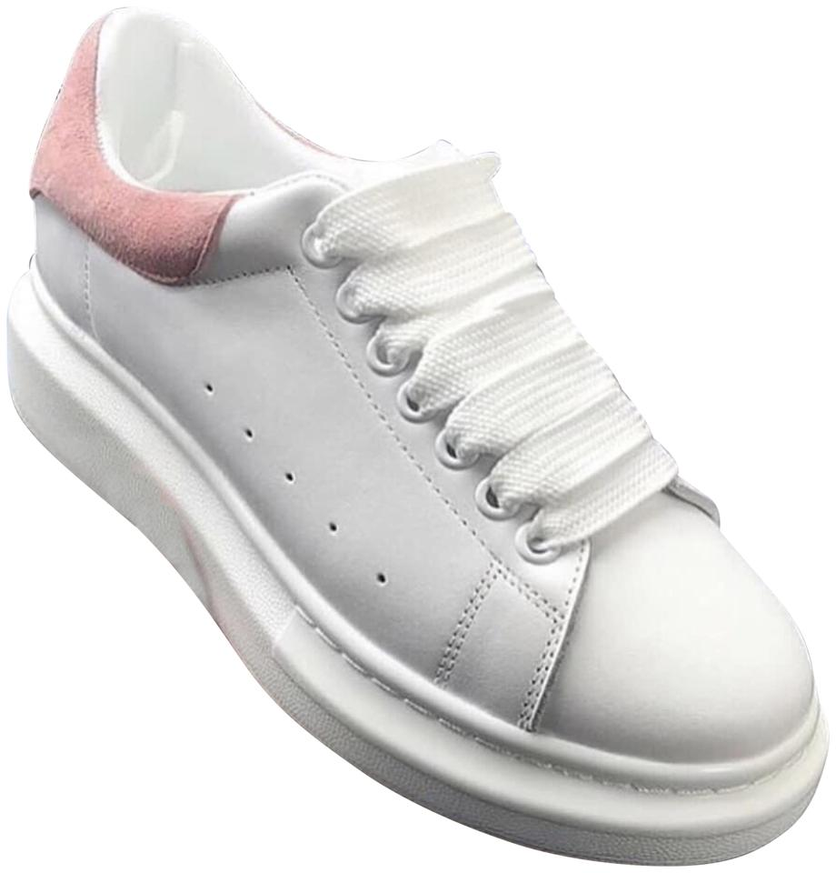 Alexander McQueen White Pattern with Sueded Pink Exaggerated Sole ... b399da9d59b4