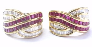 LeVian LeVian 18Kt Gem Ruby & Diamond Yellow Gold Huggie Earrings 3.60Ct 19.5