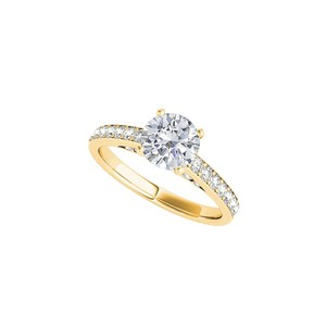 DesignByVeronica Sober Cubic Zirconia Engagement Ring in 14K Yellow Gold