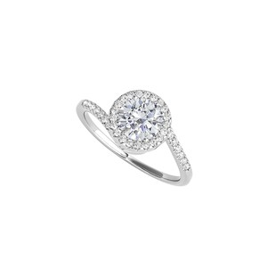 DesignByVeronica Swirl Design CZ Halo Engagement Ring 14K White Gold