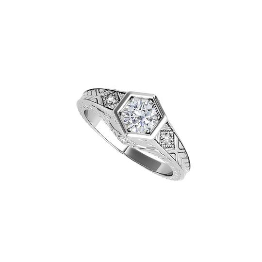DesignByVeronica Brilliant Cut CZ Hexagonal Engagement Ring White Gold Image 0