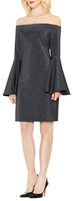 Preload https://img-static.tradesy.com/item/24193779/vince-camuto-rich-black-off-the-shoulder-metallic-bell-sleeve-short-cocktail-dress-size-4-s-0-1-650-650.jpg