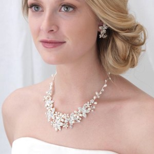 Silver Floral Garden Pearl Jewelry Set