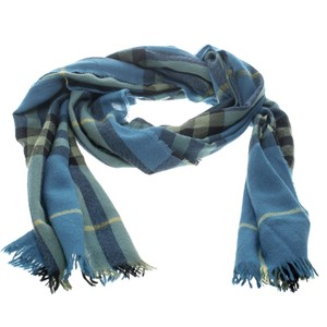 Burberry Blue Checked Fringed Edge Scarf