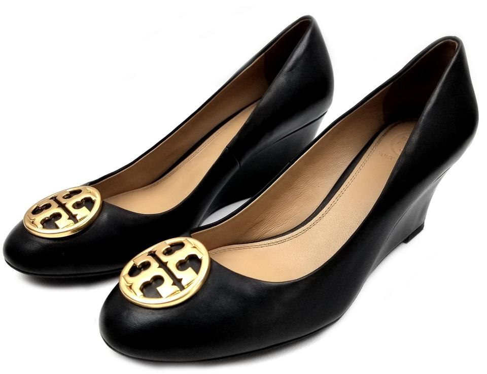 d65f1d77daab Tory Burch Black Leather Chelsea Logo Medallion Wedges Size US 7 ...