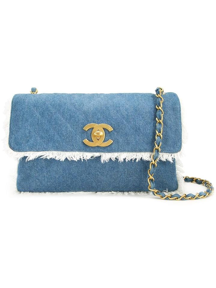 Chanel Classic Flap (Ultra Rare) Extra Large Quilted Maxi Cc 1cz1016 Blue  Denim Cross Body Bag 084f365586