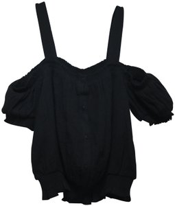 Guess Crop Buttons Sleeves Top Black