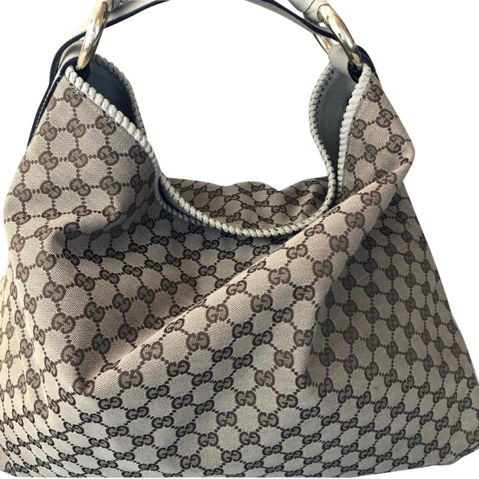 61c170a6fe0042 Gucci Horsebit Monogram Tan/Brown Canvas Hobo Bag - Tradesy