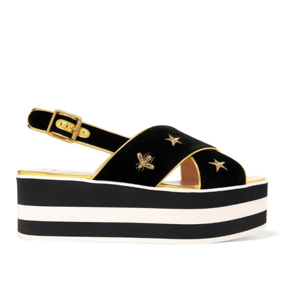93f0c79cedaa Gucci Peggy Bee Star Embroidered Velvet Leather Platform Sandals ...