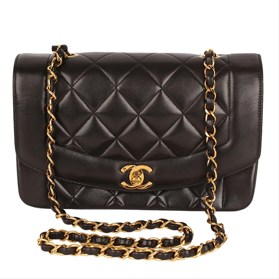 Chanel Diana Quilted Matelasse 22 Cc Logo 6696 Black Lambskin Leather  Shoulder Bag 4c7495ec99