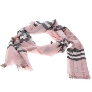Burberry Ash Rose Pink Wool and Silk Giant Check Fringed Edge Gauze Scarf