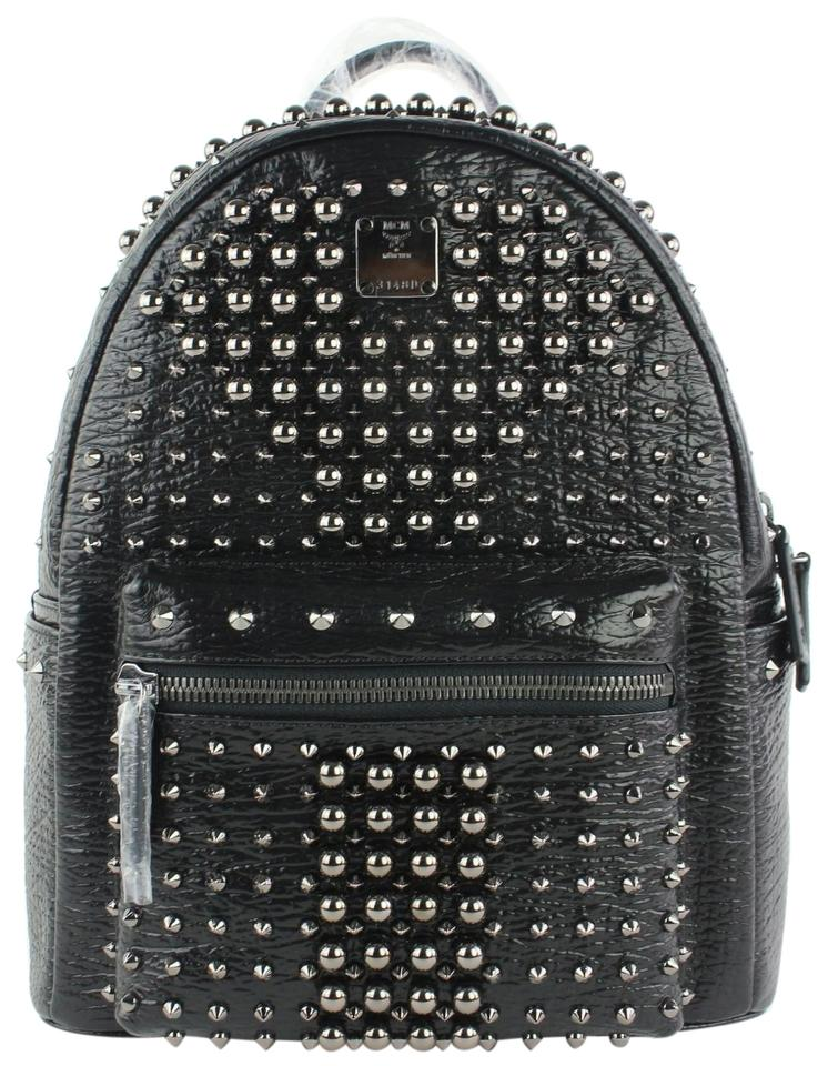 MCM Stark Pearl Stud 2mcz1016 Black Leather