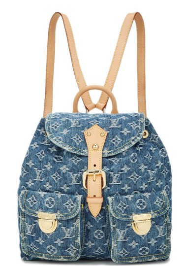 louis vuitton ebay sold monogram sac a dos gm 6lz1016 blue denim backpack tradesy