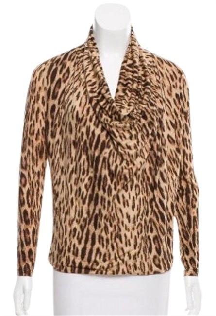 "Item - Tan Brown Black ""barley"" Leopard Print Cowl Neck Blouse Size 10 (M)"
