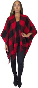 Daisy Del Sol Knit Wrap Sweater Plaid Plaid Shawl Plaid Ruana Cape