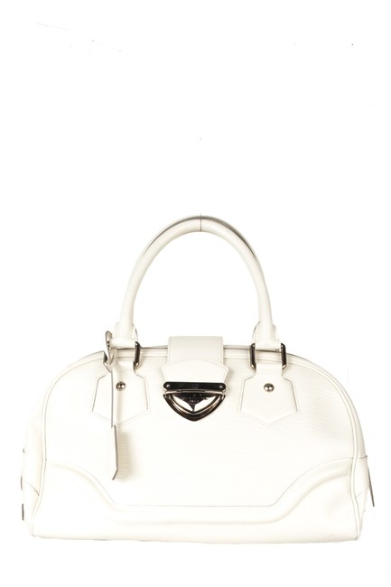 Item - Bowling Montaigne Gm Handle White Leather Shoulder Bag