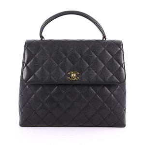 Chanel Vintage Caviar Leather Quilted Classic Flap Kelly Tote in Black