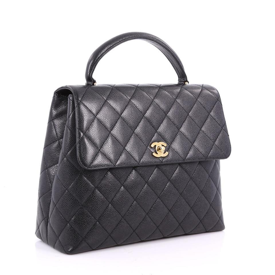 e9fcd3d6ddb6 Chanel Vintage Caviar Leather Quilted Classic Flap Kelly Tote in Black.  1234567