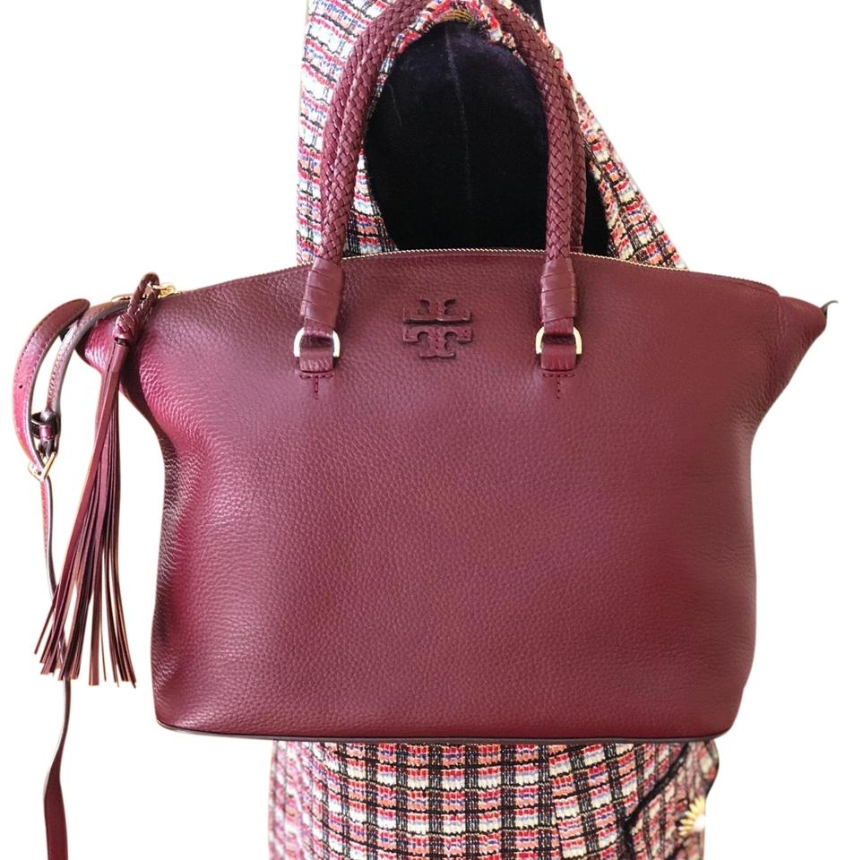 835614352393 Tory Burch Taylor Braided Handle Imerial Garnet Pebbled Leather Satchel